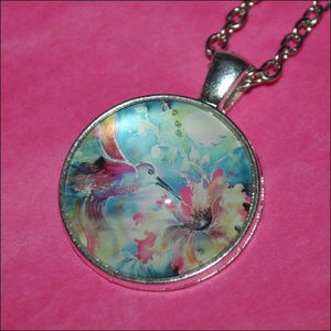 Jewelry - Watercolor Bird Dome Necklace